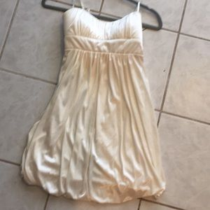 Strapless cream dress
